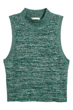 Sleeveless polo-neck jumper - Dark green marl - Ladies | H&M CN 2