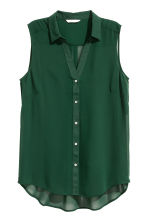 Sleeveless chiffon blouse - Dark green - Ladies | H&M CN 2