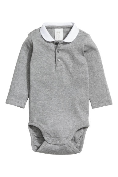 Bodysuit with a collar - Grey marl - Kids | H&M CN