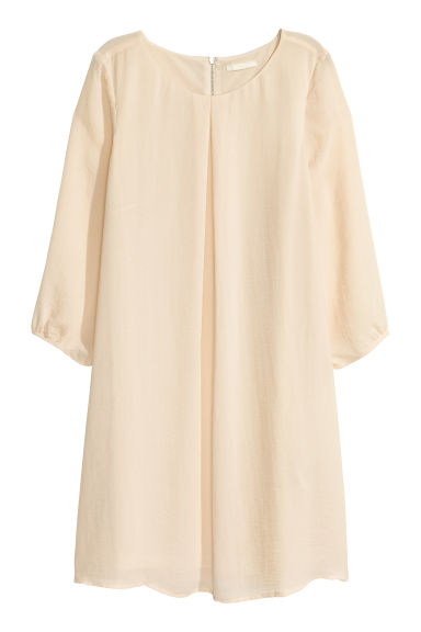 Chiffon dress - Light beige - Ladies | H&M CN 1