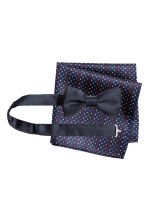 Bow tie and handkerchief - Dark blue/Spotted - Men | H&M CN 1