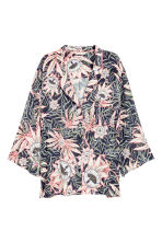 Patterned blouse - Dark blue/Floral - Ladies | H&M CN 2