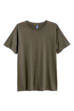 Cotton T-shirt - Khaki green - Men | H&M CN 2