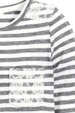 Jersey top with lace - White/Dark grey striped - Kids | H&M CN 3