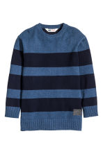Knitted jumper - Dark blue/Striped - Kids | H&M CN 2