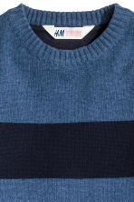 Knitted jumper - Dark blue/Striped - Kids | H&M CN 3
