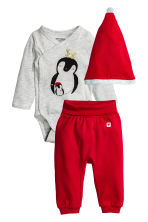 3-part jersey set - Light grey/penguins - Kids | H&M CN 1