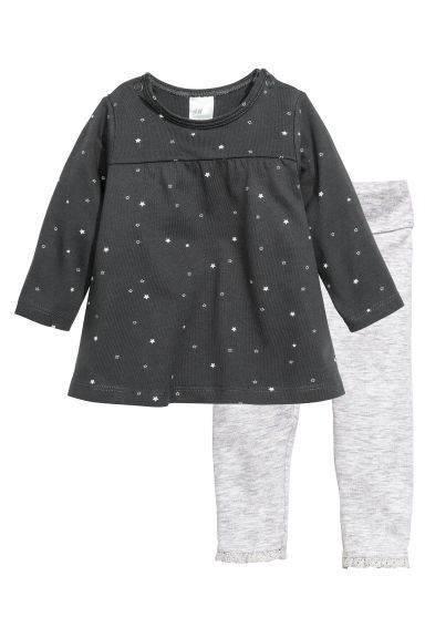 Jersey dress and leggings - Dark grey/Stars - Kids | H&M CN 1