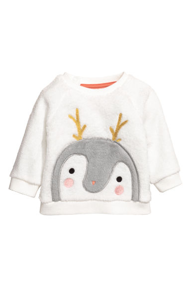 Plush top - White/Penguin - Kids | H&M CN 1
