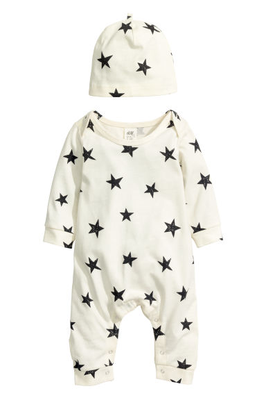 Jersey romper suit and hat - Natural white/Stars - Kids | H&M CN 1