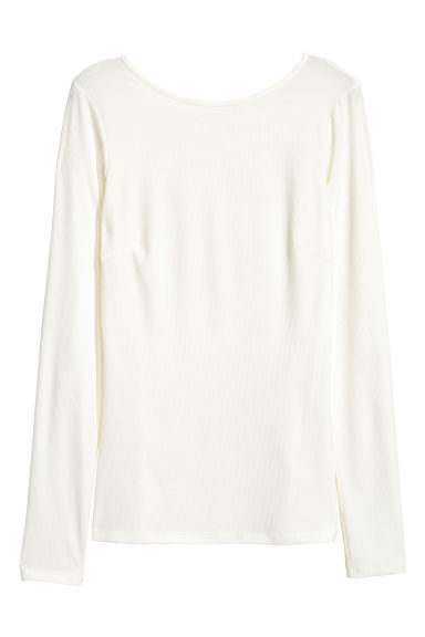 Ribbed jersey top - Natural white - Ladies | H&M CA