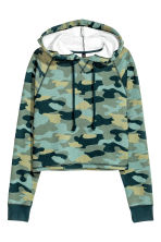 Short hooded top - Khaki green - Ladies | H&M GB 2