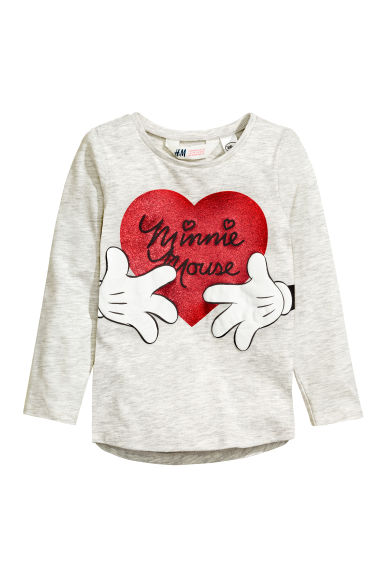 Printed jersey top - Light grey/Minnie Mouse -  | H&M CN 1