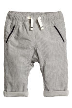 Lined cotton trousers - Grey/Striped - Kids | H&M CN 1