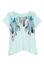 Printed jersey top - Mint green/Feathers - Kids | H&M CN 2