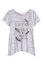 Printed jersey top - Grey marl - Kids | H&M CN 2