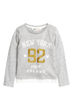 Jersey top with a lace trim - Light grey/New York - Kids | H&M CN 2
