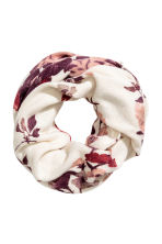 Patterned tube scarf - Natural white/Floral - Ladies | H&M CN 1