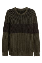 Block-striped jumper - Dark khaki green - Men | H&M CN 2
