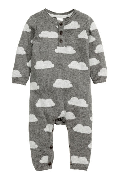 Fine-knit romper suit - Dark grey/Cloud - Kids | H&M CN 1