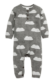 Fine-knit romper suit