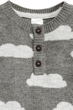 Fine-knit romper suit - Dark grey/Cloud - Kids | H&M CN 2