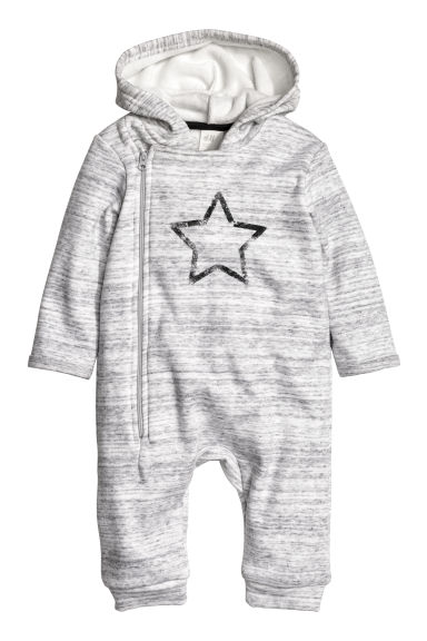 Pile-lined all-in-one suit - Light grey marl - Kids | H&M CN 1