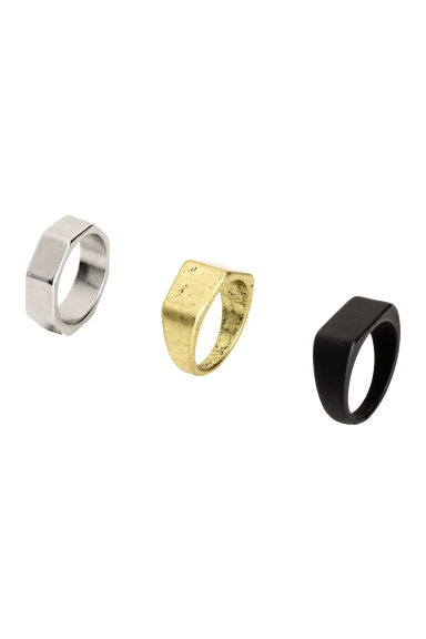 3-pack rings - Black/Gold/Silver - Men | H&M 1