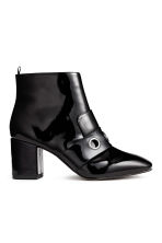 Patent ankle boots - Black - Ladies | H&M CN 1