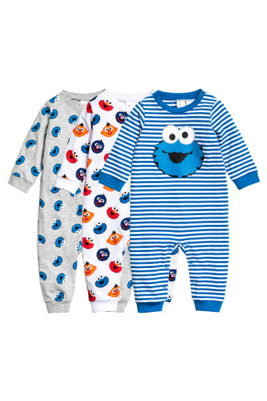 3-pack pyjamas - Blue/Sesame Street - Kids | H&M 1