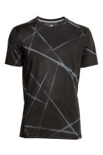Short-sleeved sports top - Dark grey/Patterned - Men | H&M CN 2