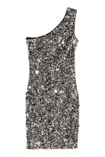 One-shoulder dress - Black/Silver - Ladies | H&M CN 2