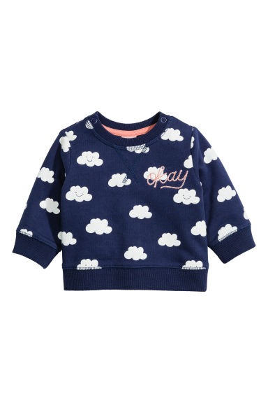 Patterned sweatshirt - Dark blue/Cloud - Kids | H&M CN 1