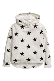 Marled hooded top