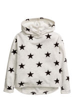 Marled hooded top - Light grey marl/Stars - Kids | H&M CN 2