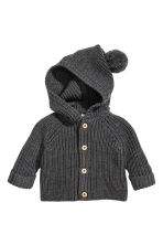 Soft merino wool cardigan - Dark grey marl - Kids | H&M CN 1