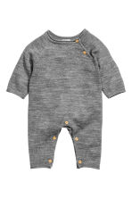 Soft merino wool romper suit - Dark grey marl - Kids | H&M CN 1