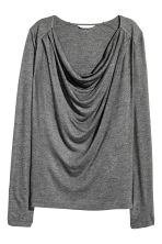 Draped jersey top - Dark grey marl -  | H&M CN 2