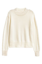 Pullover in lana con perline - Bianco naturale - DONNA | H&M IT 2