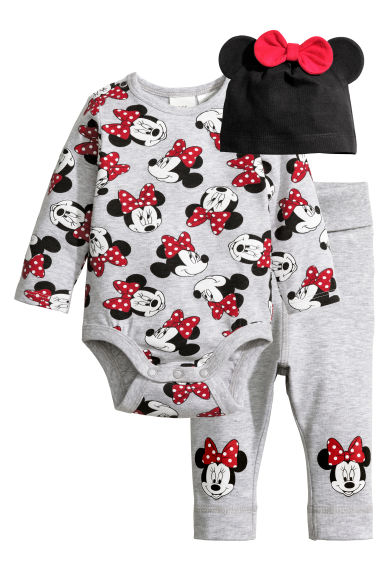 3-piece jersey set - Grey/Minnie Mouse - Kids | H&M CN 1