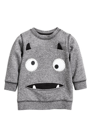 Sweatshirt - Black marl - Kids | H&M CN 1