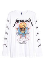 Long-sleeved T-shirt - White/Metallica -  | H&M CN 2