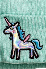 Fine-knit hat - Turquoise/Unicorn - Ladies | H&M CN 2