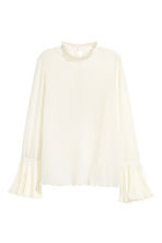 Blouse with trumpet sleeves - Natural white - Ladies | H&M GB 2
