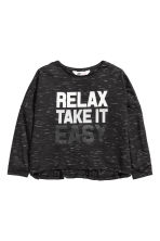 Oversized top - Black marl - Kids | H&M CN 2