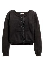 Fine-knit cardigan with frills - Black - Kids | H&M CN 2