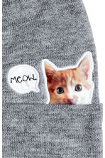 Fine-knit hat - Grey/Cat - Ladies | H&M CN 2