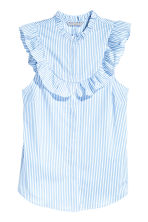 Sleeveless blouse - Light blue/Striped - Ladies | H&M CN 2
