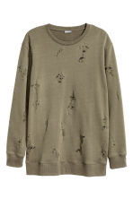 Sweatshirt Trashed  - Khaki green - Men | H&M CN 2