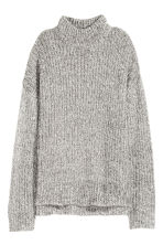 Chunky-knit turtleneck jumper - Grey marl - Ladies | H&M GB 2
